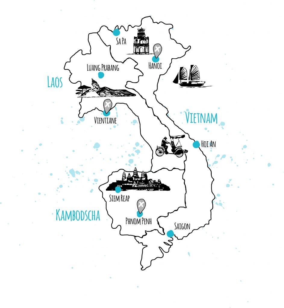 länder und orte laos vietnam kambodscha